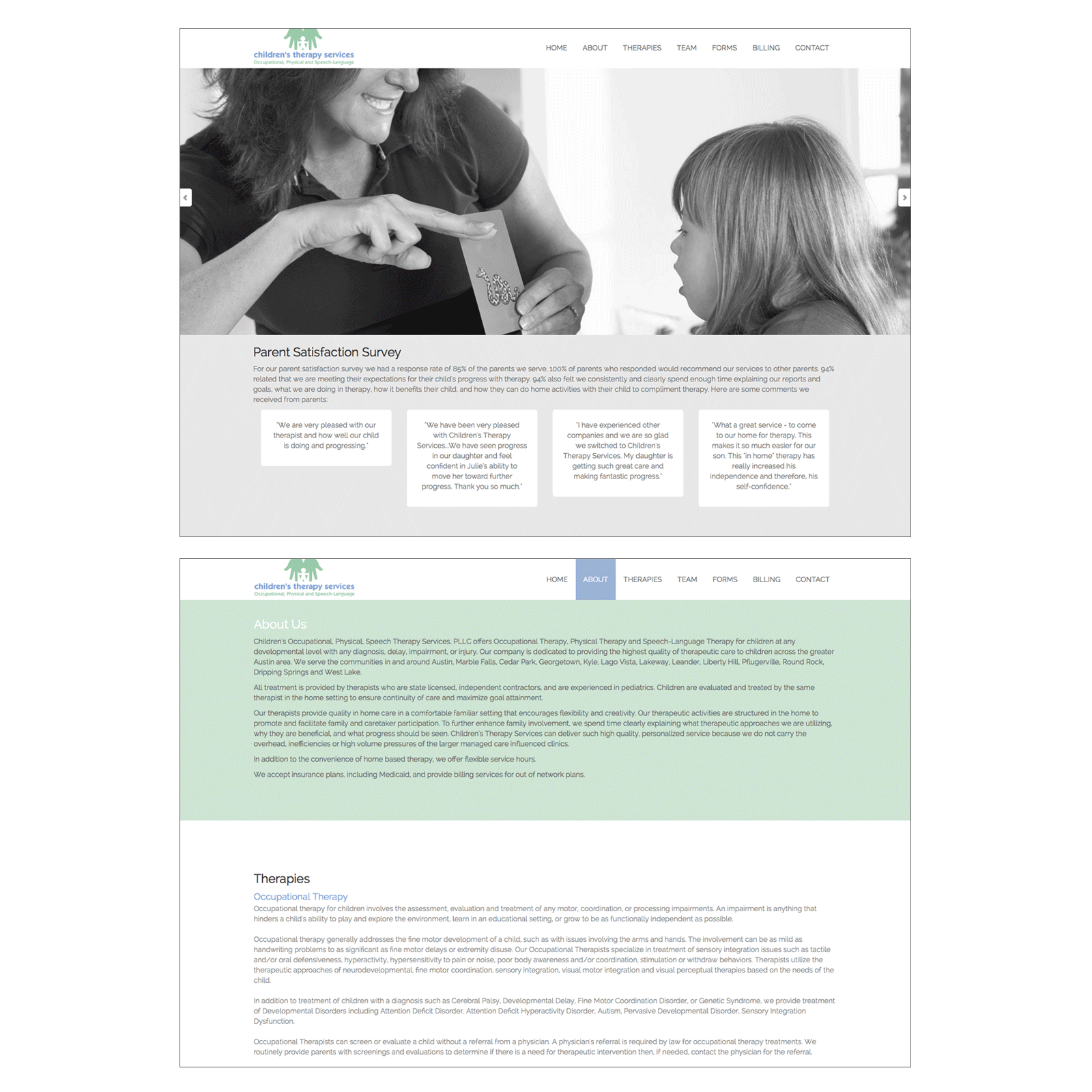 Children's Therapy Services : Website and Maintenance
